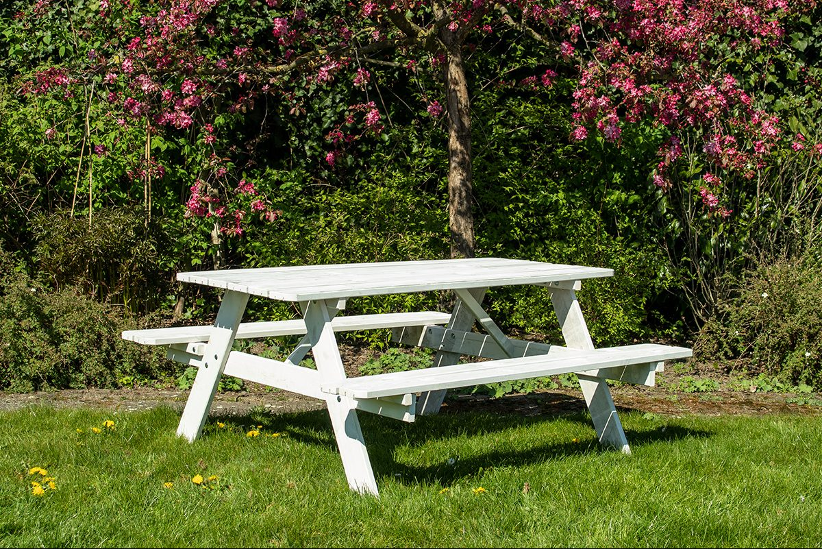 Beste Prijsshop Picknicktafel Grenen Basic Wit 150